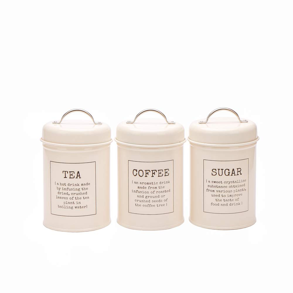 Kitchen Tea Coffee Sugar Canister Tins in Vintage Metal Storage Tin