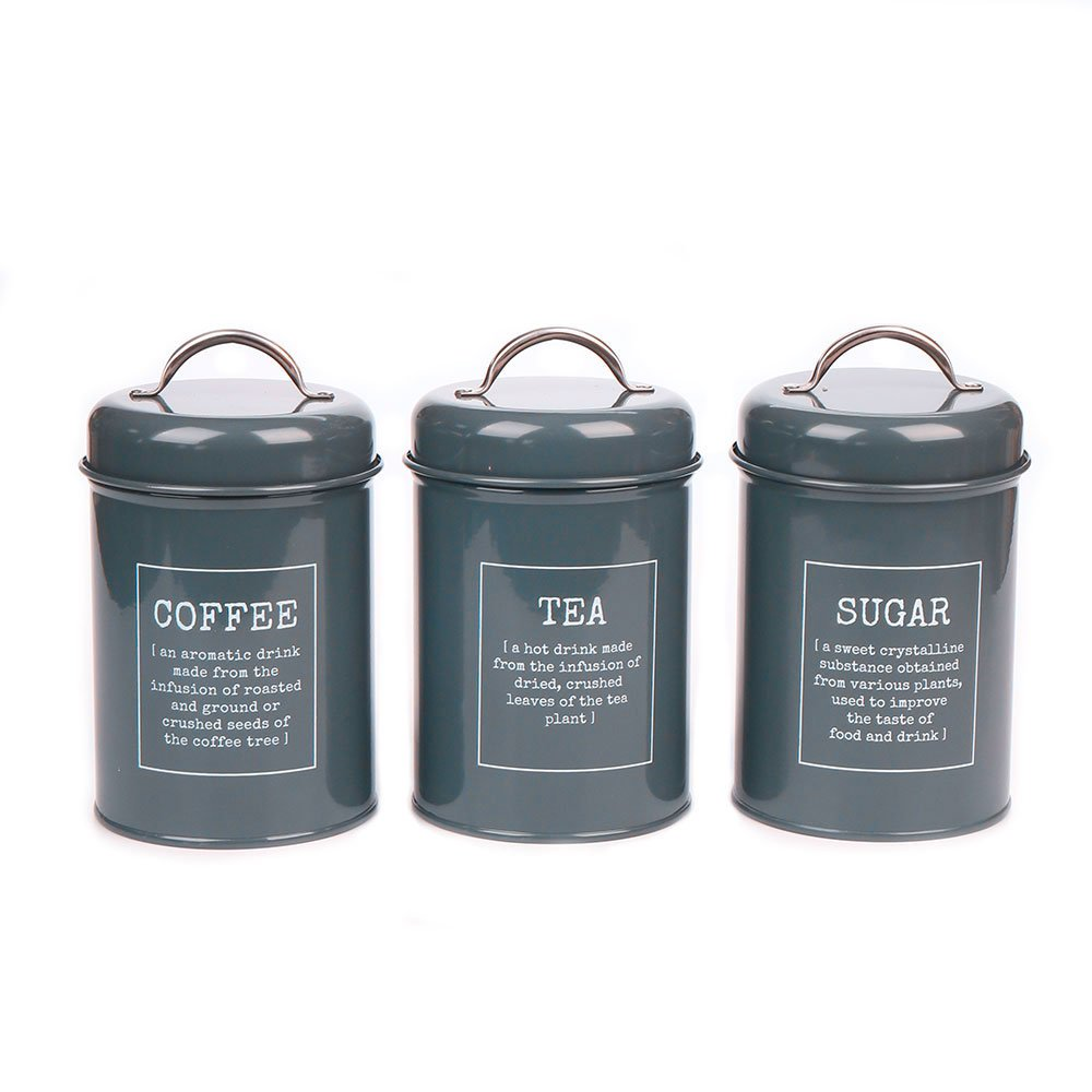 Set of 3 Metal Kitchen Food Storage Tin Canister/Jar/Container with Lid