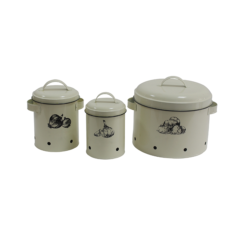 Set of 3 Potato Garlic Onions metal Storage Tin