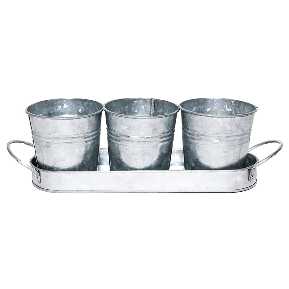 Vintage Finish Planter Pot Set | Galvanized Flower or Herb Pot Set with Tray/Cadd