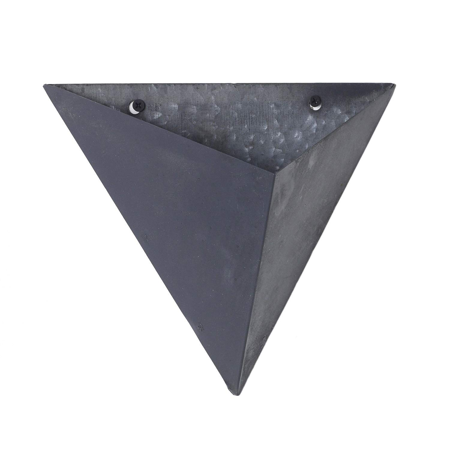 Triangular Wall Pocket Basket Planter, Slate Grey Metal