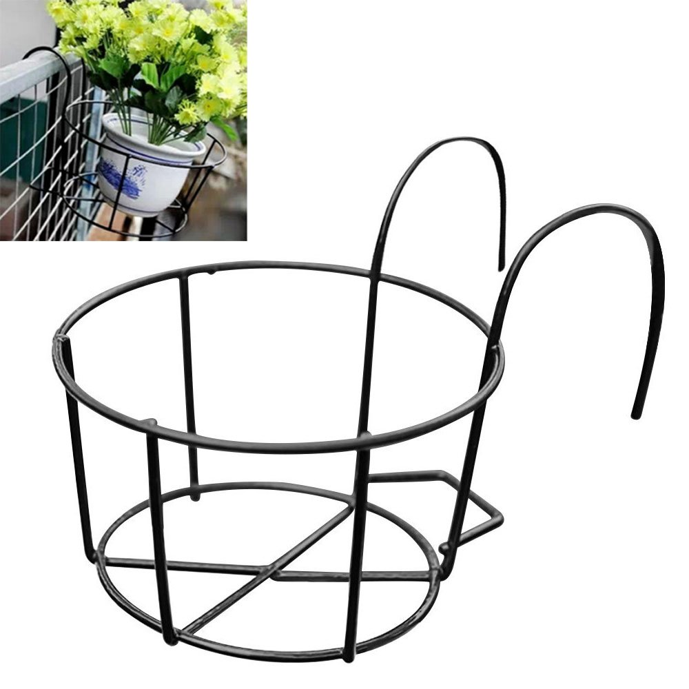 Round Metal Hanging Plants Flower Pot Holder Balcony Flowerpot Holder for Home Ga