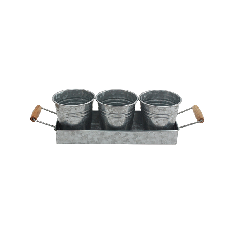 Farmhouse Decor Flower Pot and Tray Set - Vintage Galvanized Windowsill Planter -
