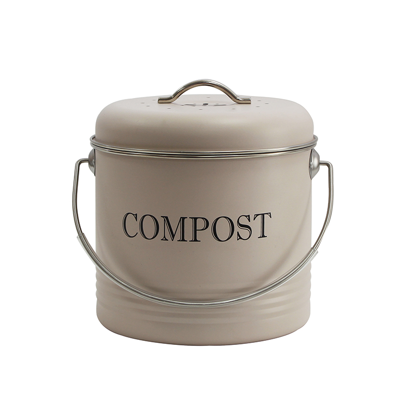 Compost Bin for Kitchen Counter 1.5 Gallon Powder-Coated Carbon Steel | Kitchen Pail with Lid, Trash Keeper Container Bucket, Recycling Caddy