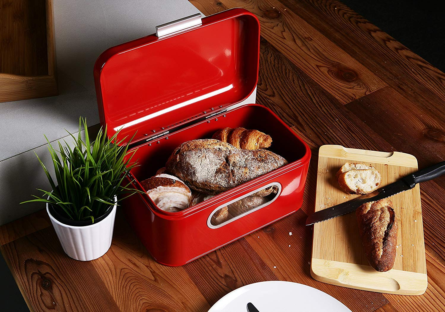 Bread Box for Kitchen Counter - Red Bread Bin, Retro Storage Container with Front Window, For Doughnuts, Pastries, Cookies