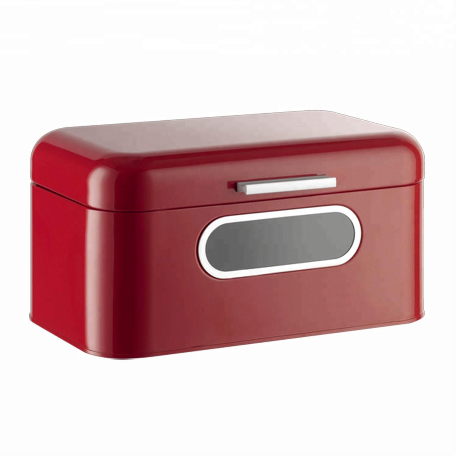 Kitchen Counter Bread Box   - Red Bread Bin, Retro Storage Container with Front W