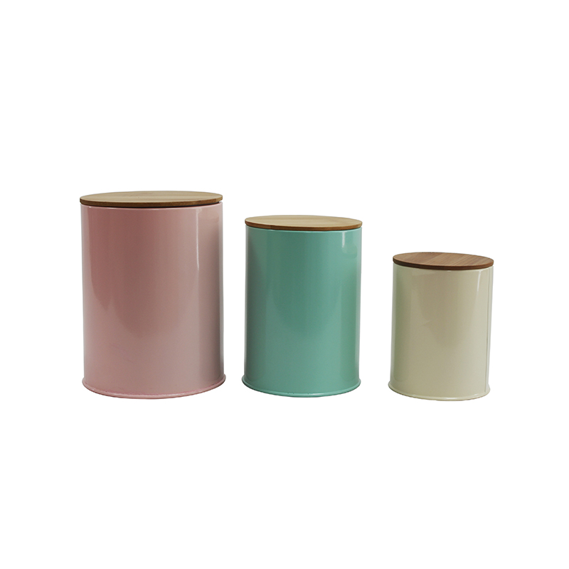 Hot Sale Set of 3 Home Kitchen Power Coated Finish Metal Storage canisters