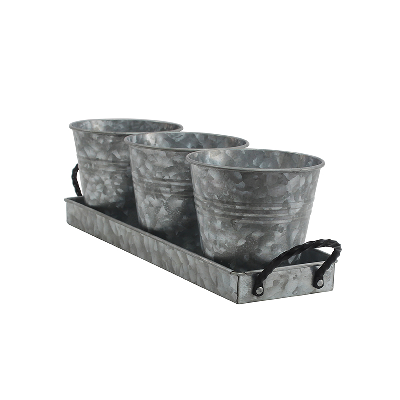 Vintage Finish Galvanized Farmhouse Flower Pot Set with Tray