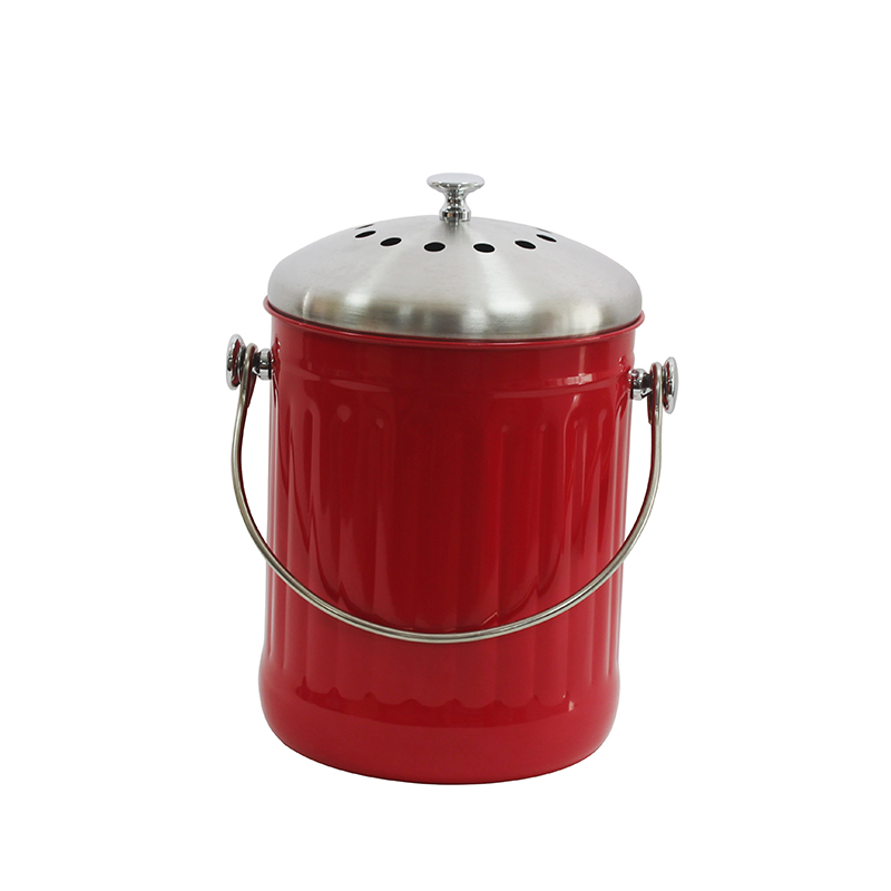 Red Stainless Steel 1.3 Gallon/5 Liter Indoor Countertop Composter Waste Pail com