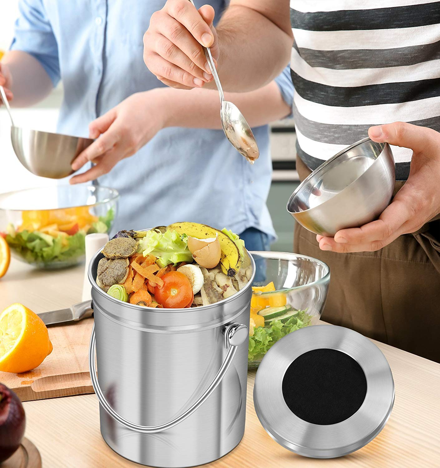 Kitchen Stainless Steel Compost Bin for Kitchen Countertop 1.3 Gallon Compost Bucket Kitchen Pail Compost with Lid