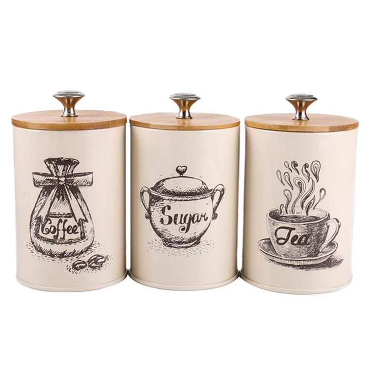 Metal Iron 3-Piece Vintage Retro Food Storage Coffee Sugar Tea Kitchen Canister With Lid
