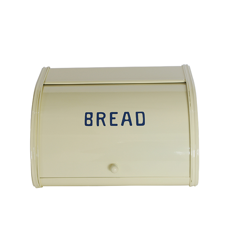 Metal Home Vintage Countertop Bread Storage Bin Rolltop Bread Boxes for Kitchen F