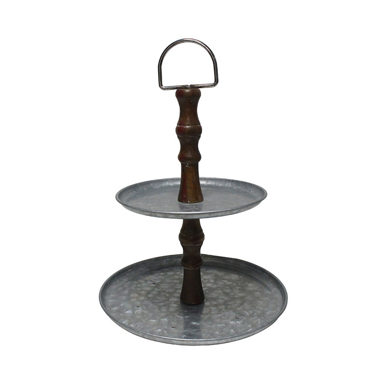 Rustic Galvanized Metal Double Tiered Tray Display Serving Stand with wood Handle