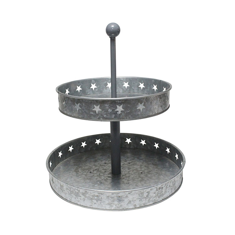 Galvanized Two Tiered Serving Stand 2 Tier Metal Tray Platter for Cake Dessert Sh