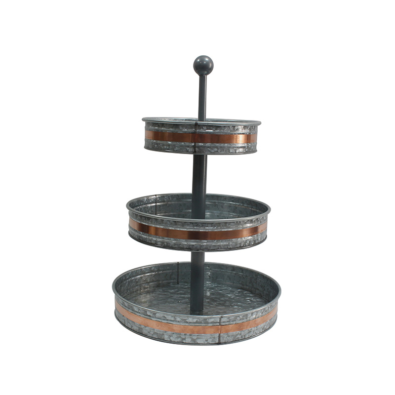 Outdoor Indoor Serveware Country Farmhouse Vintage Decor Rustic Galvanized Round Metal Stand 3 Tier Serving Tray