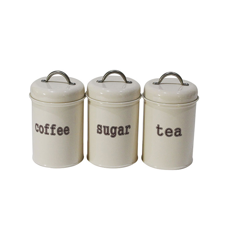 Set of Three Farmhouse Home Decor Style Galvanized Metal Tea Coffee Sugar Kitchen