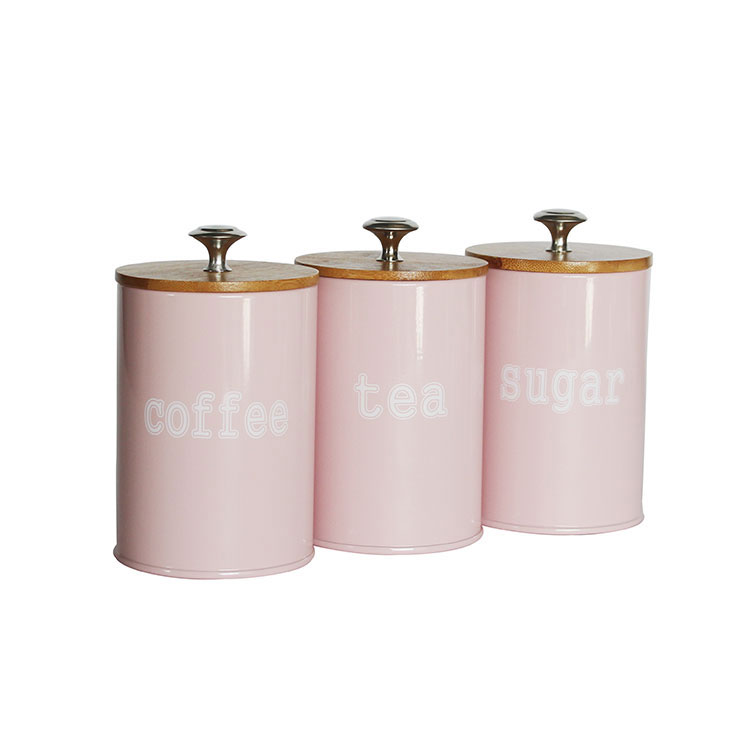 Rustic Vintage Farmhouse Country Decor 3 Piece pink Metal tea coffee sugar Kitchen Canister sets