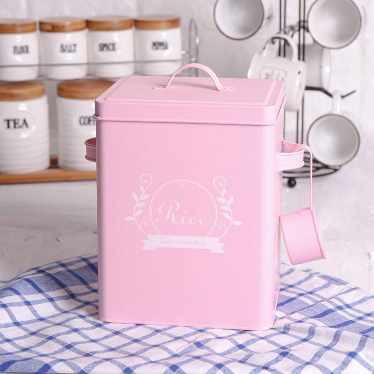 Hot Sale Square Kitchen Storage Tin Containers with Lid And Scoop