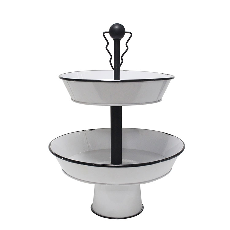 White Decorative Metal Oval Two Tier Tray stand for home kitchen party