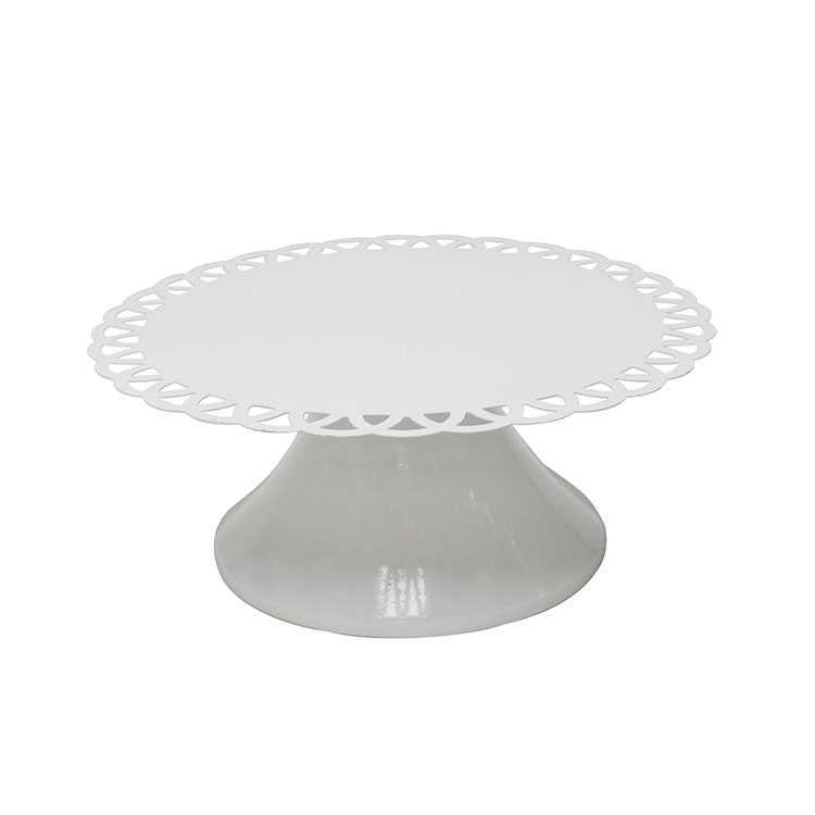 White metal iron round Cupcake Stand for Parties with flower edge decor