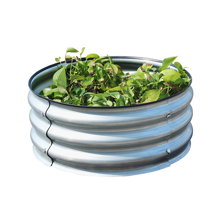 Round Galvanized Steel Planter Raised Metal Garden Bed Kit for Plants and Vegetab