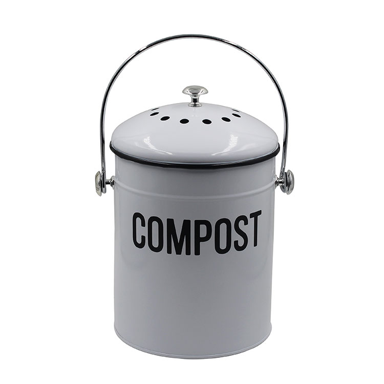 White Metal Steel 1.3 Gallon kitchen trash Bucket Container pail Compost Bin for