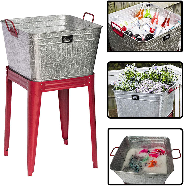 The galvanized Tub is rated for outdoor or indoor use and can be used in many different ways. Your search for ice buckets for parties, a nice wash basin for clothes or dogs, or a very stylish farmhouse planter ends here