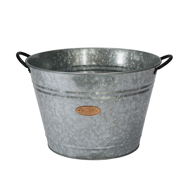 Home Galvanized Iron Steel Round Holds Soda Beer Wine and Champagne Party Beverage Tub