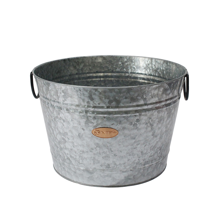 Galvanized Iron Steel Round Holds Soda Party Beer Beverage Wine Champagne Tub