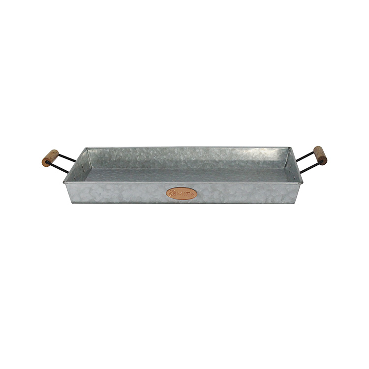 Galvanized Metal Serving Tray With wood handle