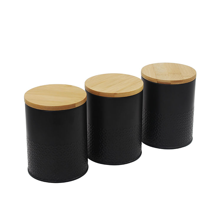 Black Metal 3 Food Storage canister sets for Coffee Tea and Sugar with Bamboo Lid