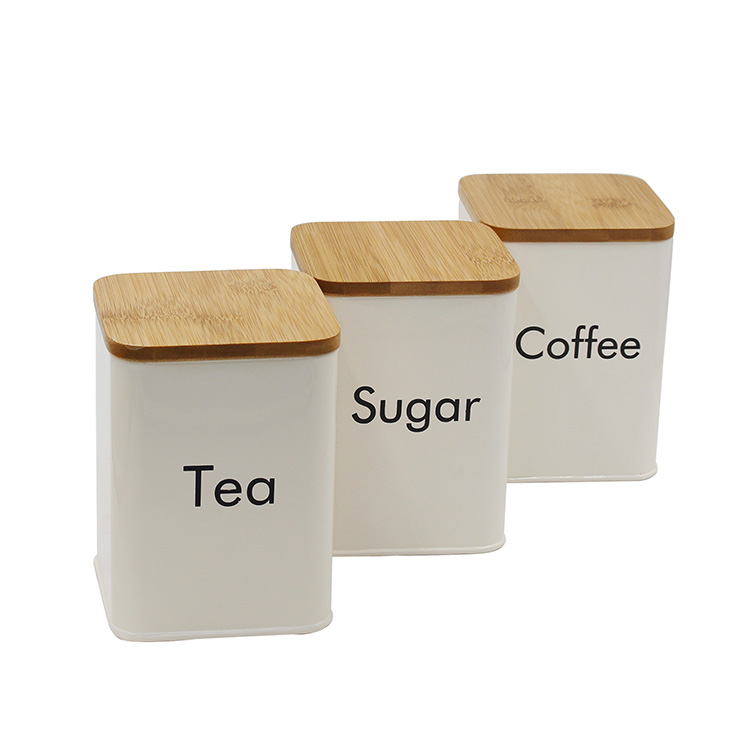 Cream Metal 3 Food Storage Containers for Coffee Tea and Sugar with Bamboo Lids