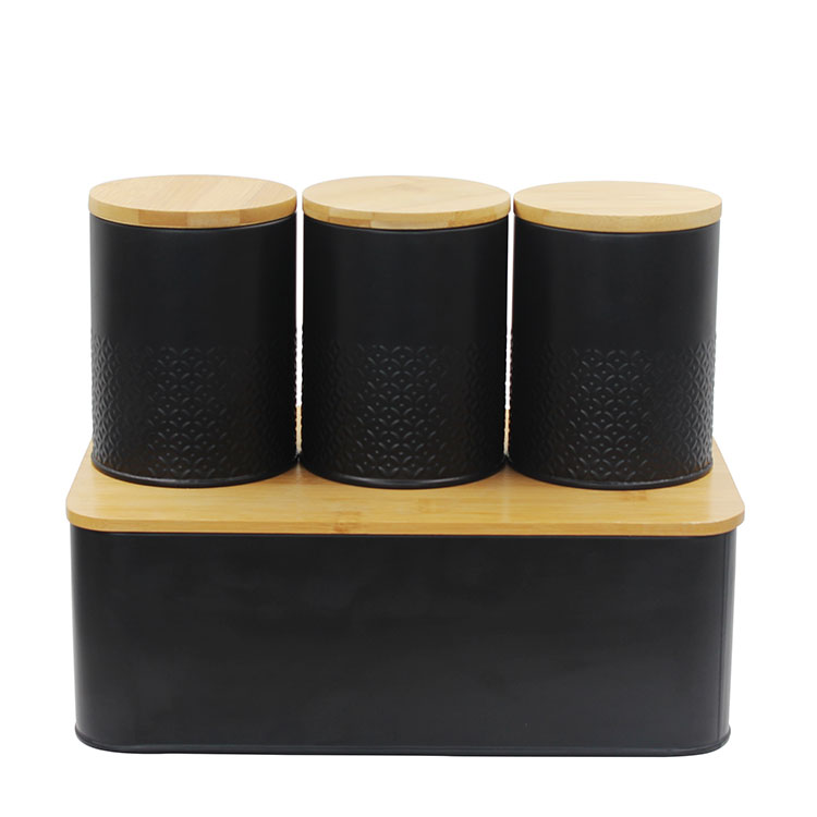 Bread Bin Loaves Storage Canister Tins and 3 Piece Kitchen Canister Set