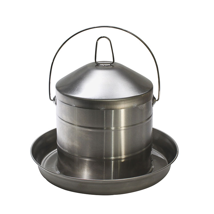 Poultry feeding equipment Matte 8L stainless steel chick waterer