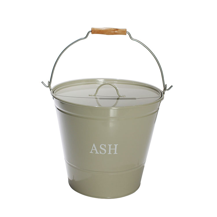 Fireside Galvanized Metal Ash Bucket With Lid