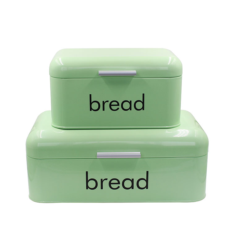 Green Metal Steel storage container Steel bread box for kitchen