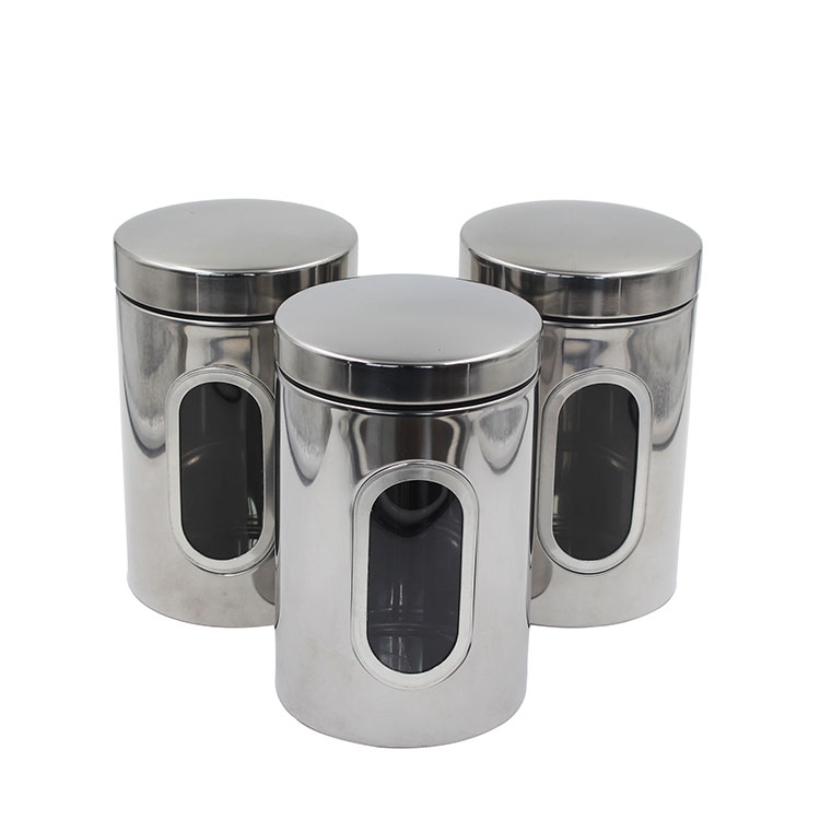 Silver Stainless Steel tea coffee sugar storage Canister Set with Windows