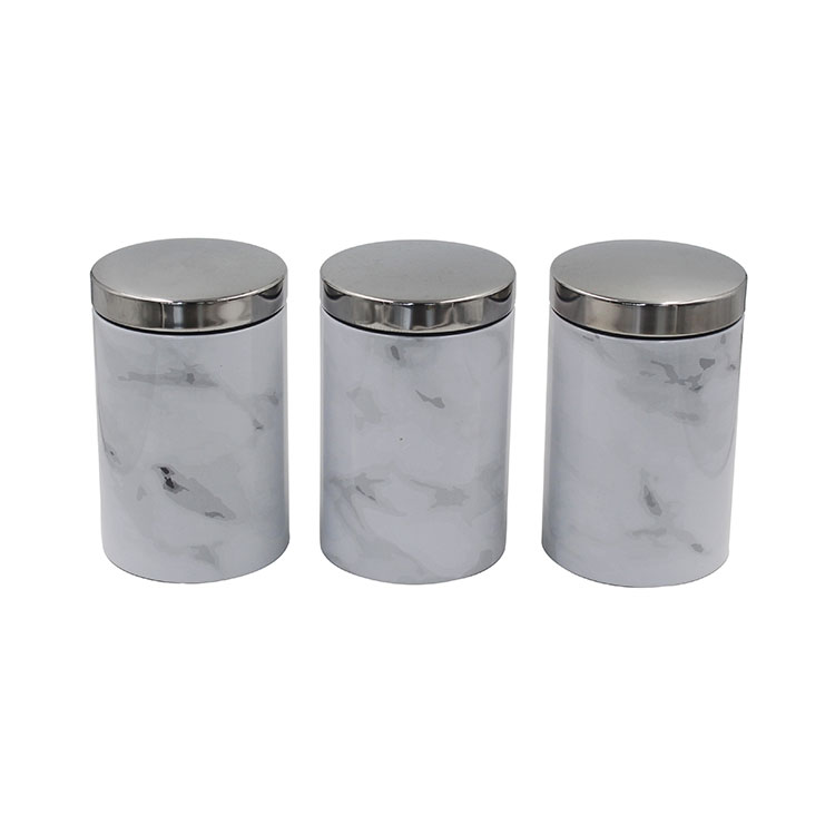 3 Piece Galvanized Metal Food Storage and Organization Canister Set