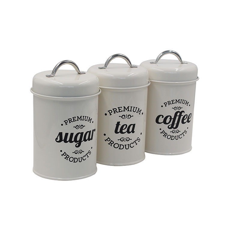 Cream Metal Rustic Farmhouse Country Decor Containers for Sugar Coffee Tea Storag