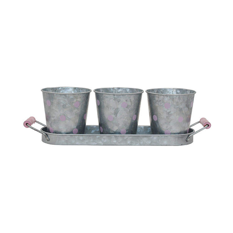 Galvanized Metal Indoor Outdoor Planter Herb Plant Pots With Tray