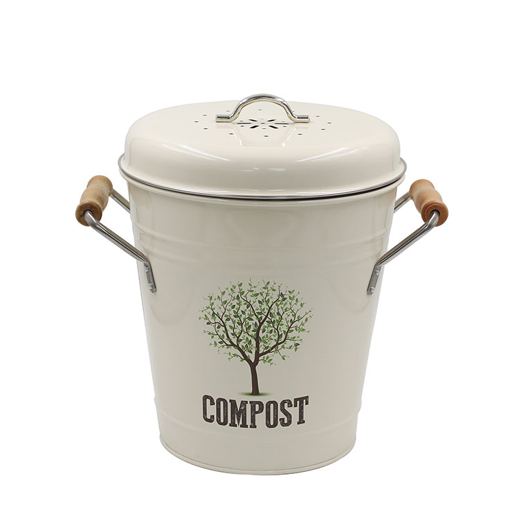 Carbon Steel Indoor Kitchen Compost Pail for Kitchen Countertop for Food Scraps
