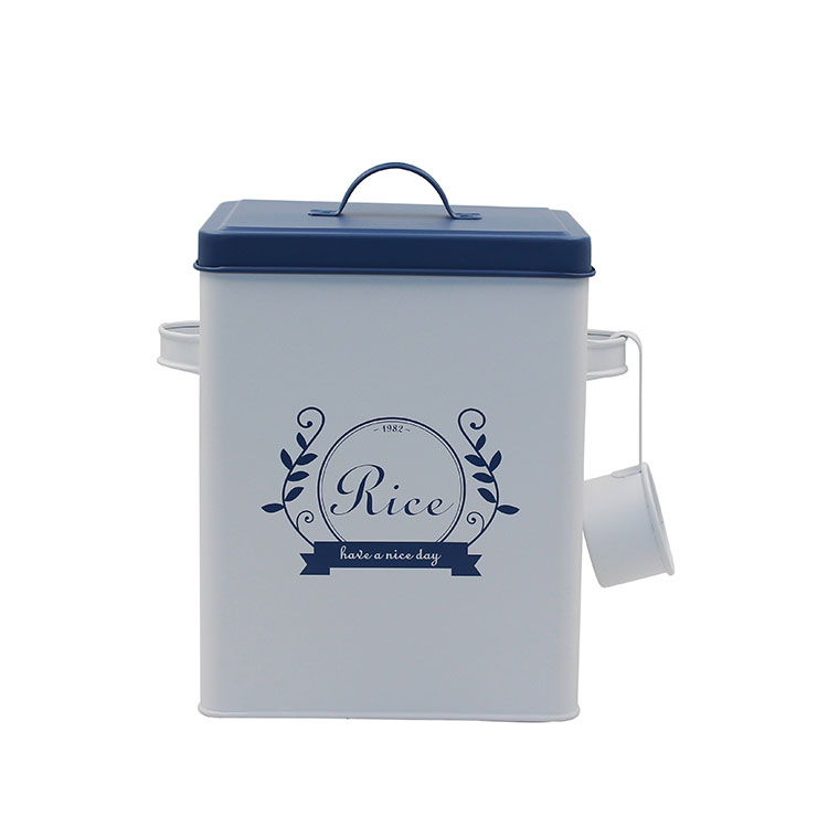 Square Galvanized Metal Iron Rice Storage Box with lid and Spoon