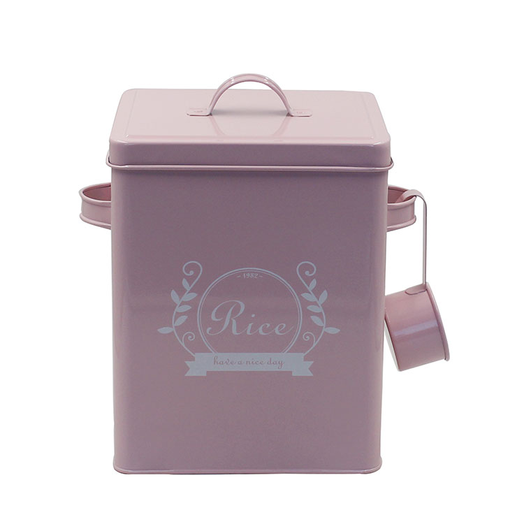 Square Galvanized Metal Food Rice Storage Container