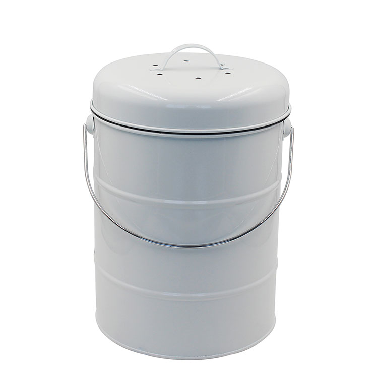 White Metal counter top kitchen compost bin