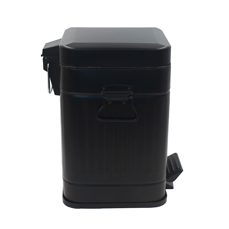 Zinc plated metal Pedal Bin Large Garbage Can with a removable plastic container