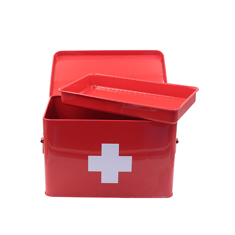 Galvanized Medicine Storage Box Metal First Aid Box with Side Handles