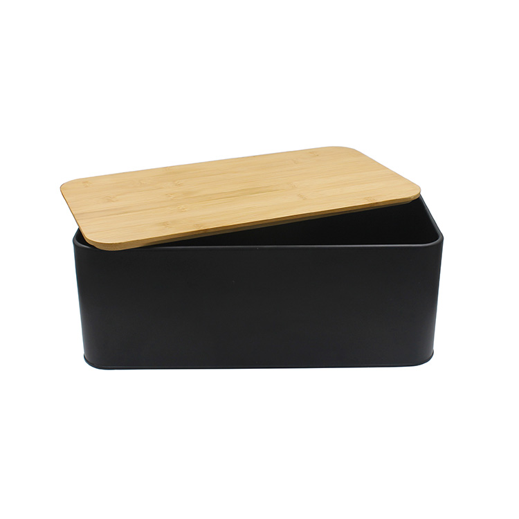 Countertop Metal Bread Bin Set with Wooden Chopping Board Top