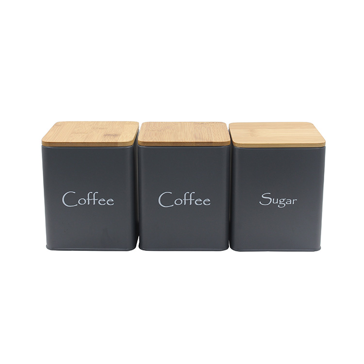 Metal Iron Kitchen storage container with Bamboo Lid For Tea coffee sugar