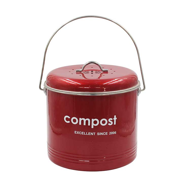 Powder Coated Carbon Steel Kitchen Countertop Compost Bin With lid