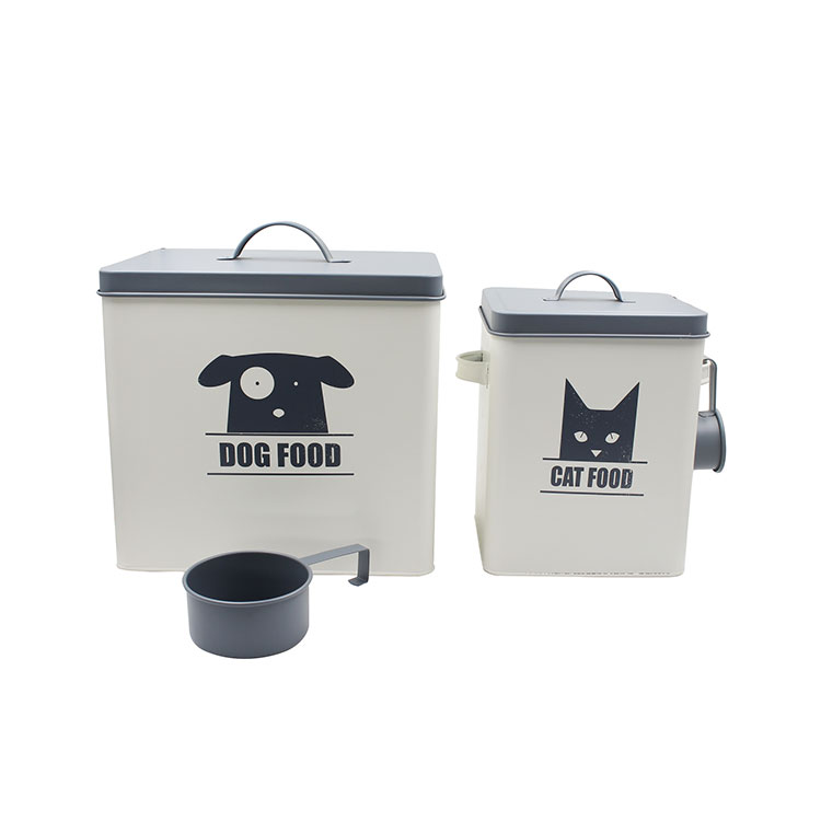 Coated Carbon Steel Dog Cat Pet Food Containers Set with Scoop for Cats or Dogs